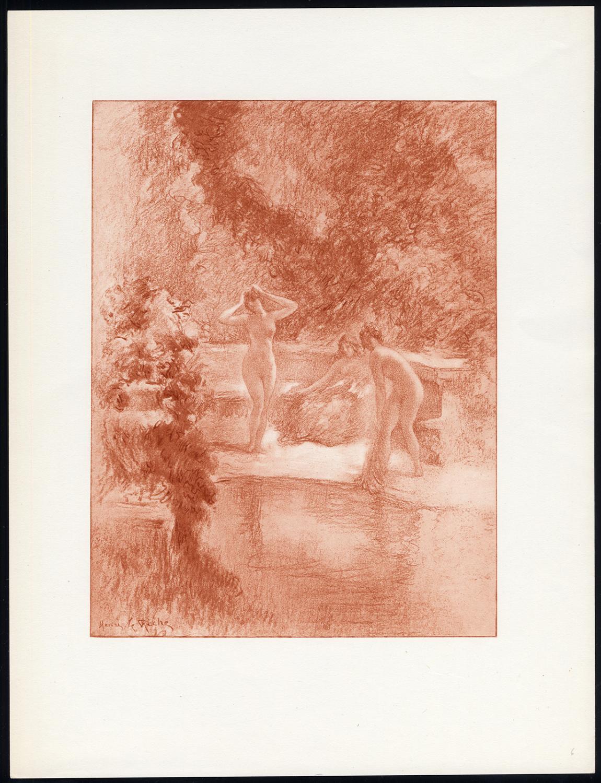 Original Print-POOL-NAKED WOMEN-FEMALE-NUDE-BENCH-COLOUR-Henri le Riche-1940