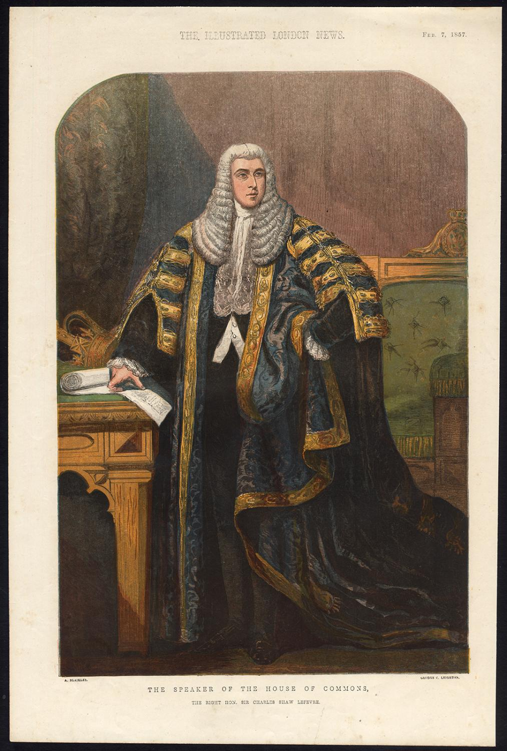 Antique Print-CHARLES SHAW LEFEVRE-SPEAKER-HOUSE-COMMONS-Leighton-Blaikley-1857