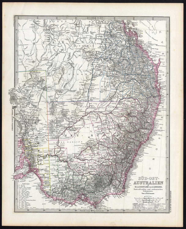 Antique Map-SOUTH EAST AUSTRALIA-Stieler-Petermann-1848 ...