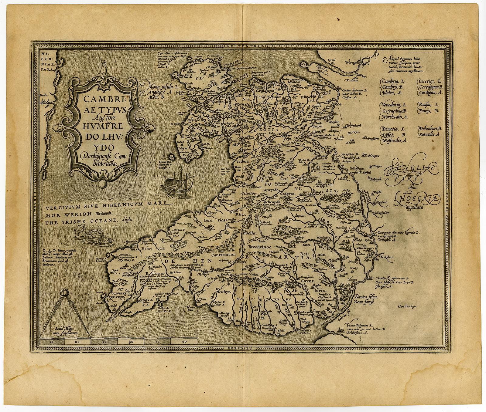 Antique Map-WALES-CUMBRIA-CAMBRIAE-Ortelius-Lhuyd-c. 1600