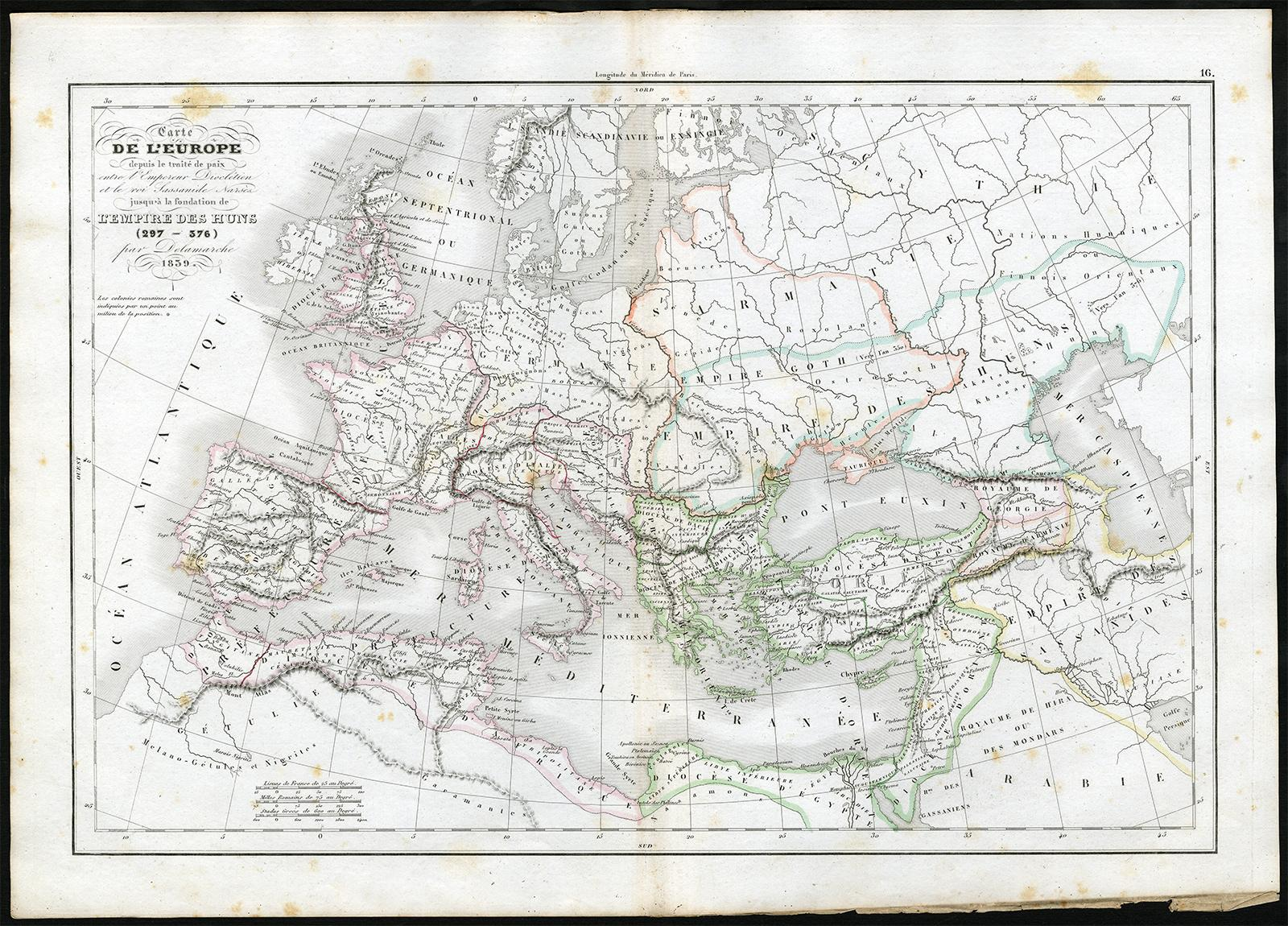 Map Of Europe 1840.Antique Print Europe Diocletian Sasanian Narses Hun Delamarche 1840