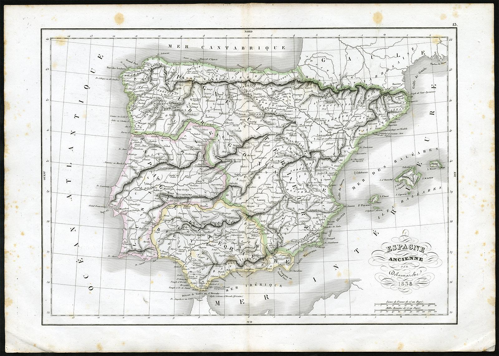 Map Of Spain To Print.Antique
