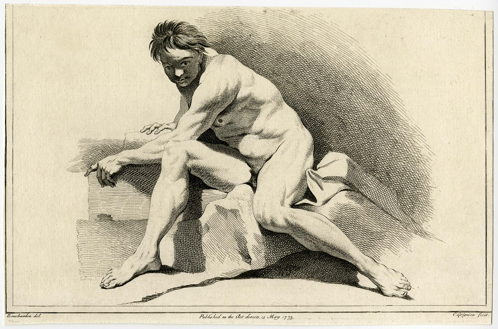 Antique Print-NUDE-MAN-STAIRCASE-CLOTH-Bouchardon-Grignion-1773 Hardcover
