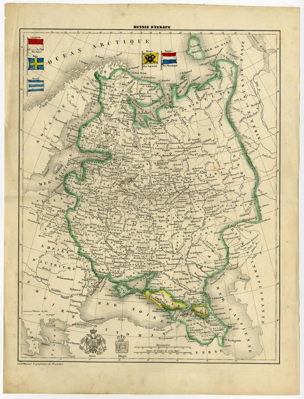 Antique Map-RUSSIA-EUROPE-FINLAND-UKRAINE-1850: - ThePrintsCollector