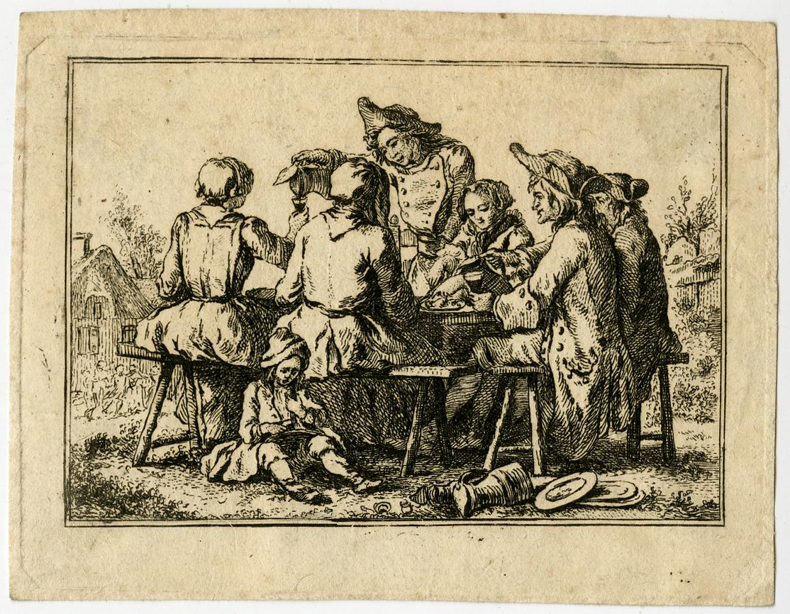 Antique Master Print-GENRE-OUTDOOR MEAL-GATHERING-Anonymous-ca. 1770