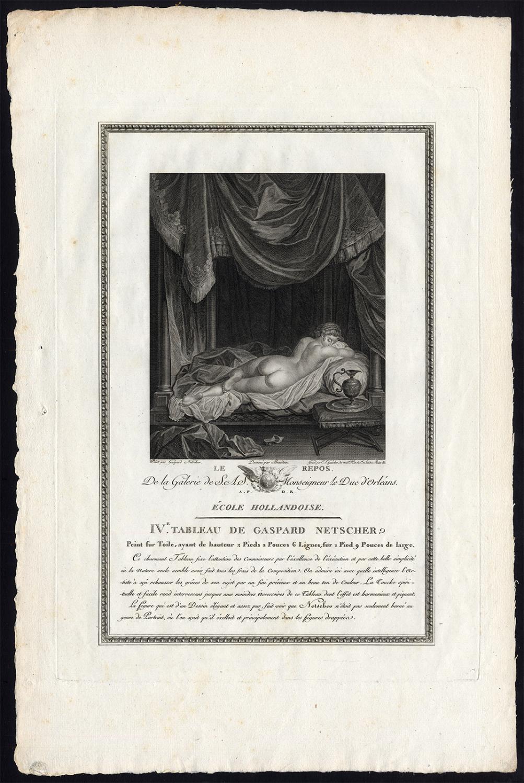 Antique Print-WOMAN-NUDE-REST-Netscher-Gaucher-1786