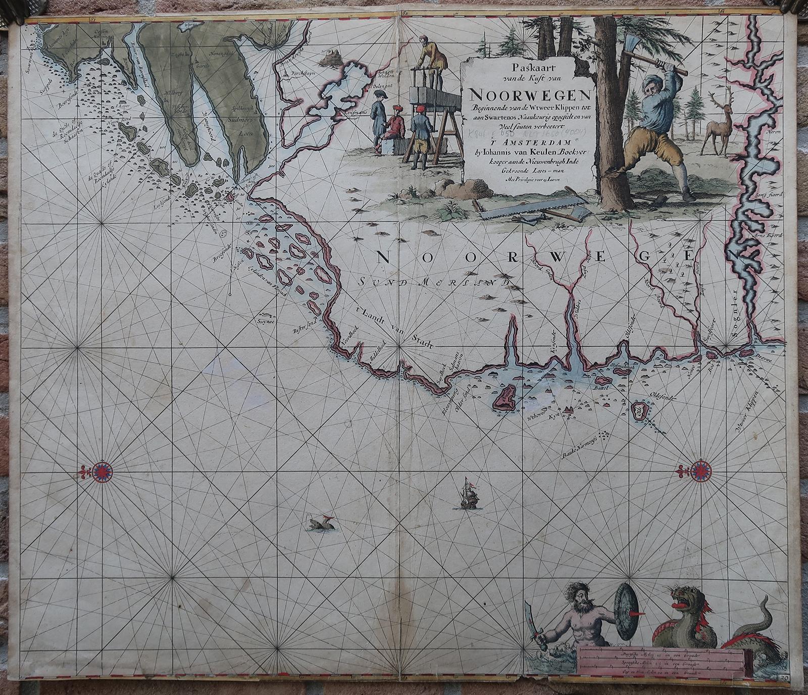 Antique Print-SEA CHART-NORWAY-SOGNEFJORD-Van Keulen-ca. 1700