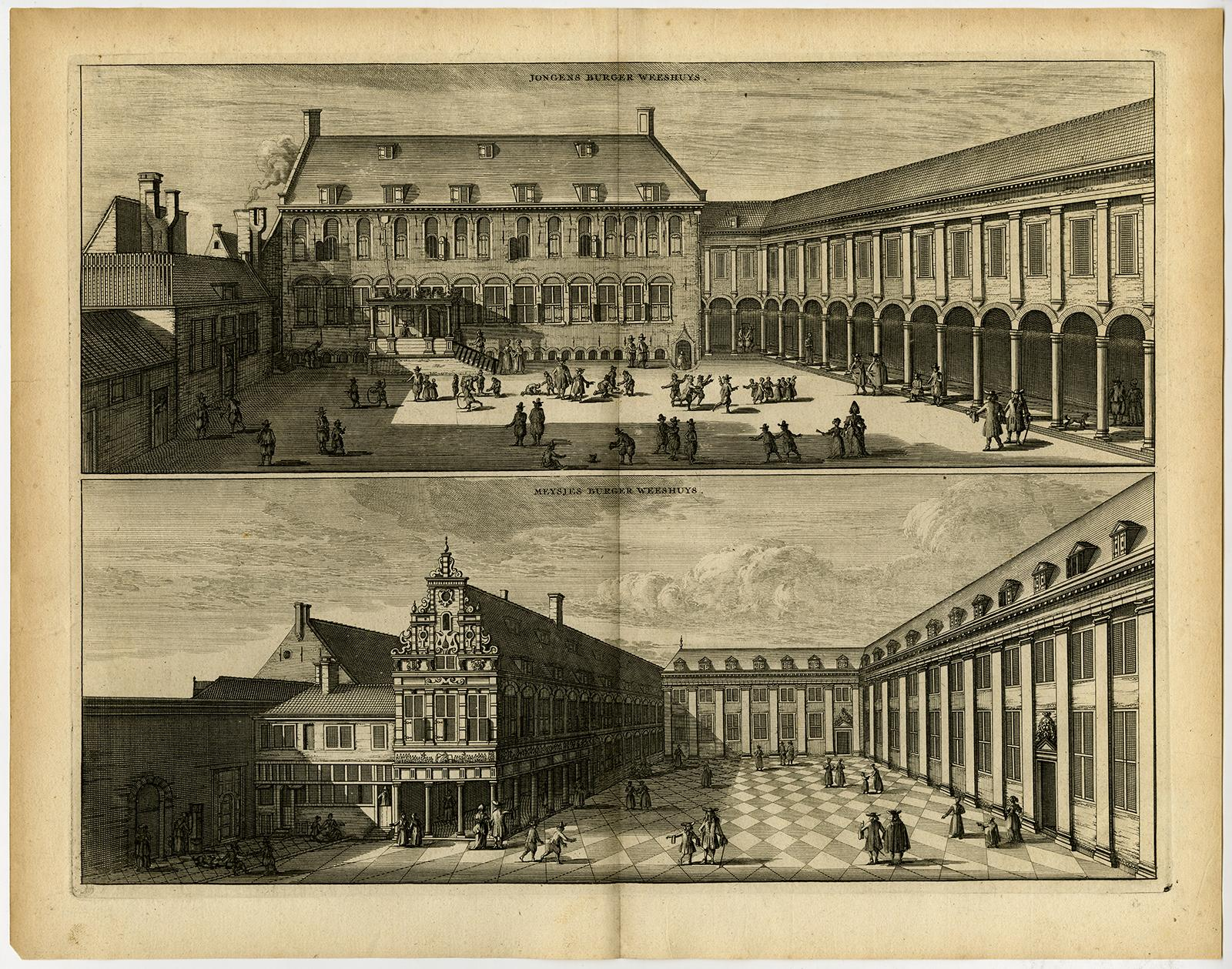 Antique Print-ORPHANAGES-AMSTERDAM-Commelin-1726 Very Good