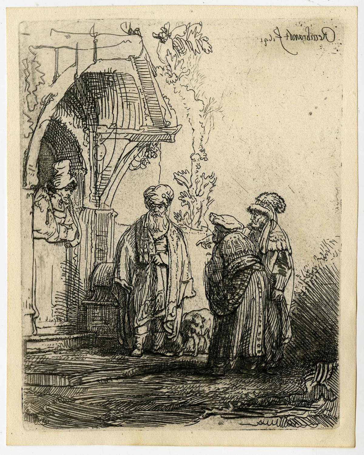 1641 - Antique Master Print, untitled. Three oriental figures at a door.  Authentic, but later impression printed by Basan in Paris around ...