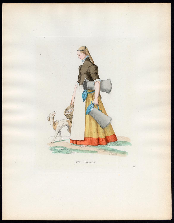 Antique Print-SERVANT-GERMAN-COSTUME-16TH C-39-Duplessis-Bonnard-1867 Very Good