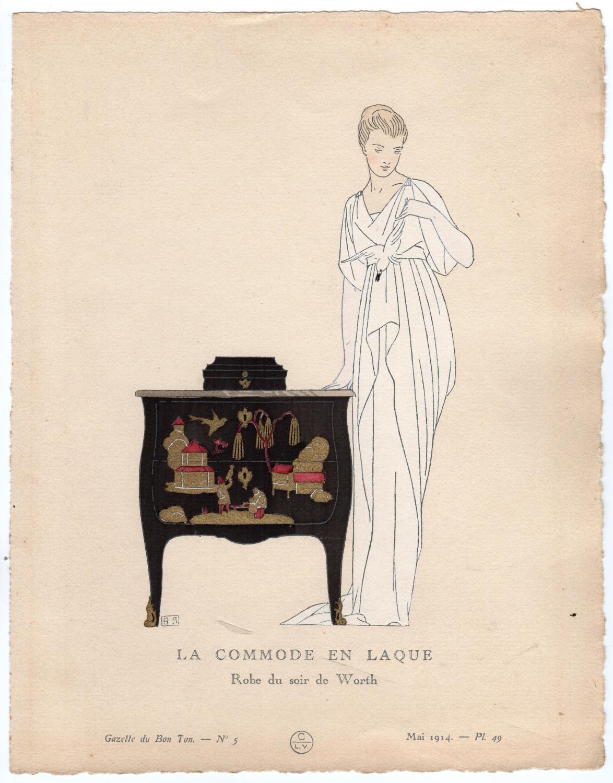 Antique Print-LACQUER CABINET-EVENING ROBE-Gazette du Bon Ton-1914