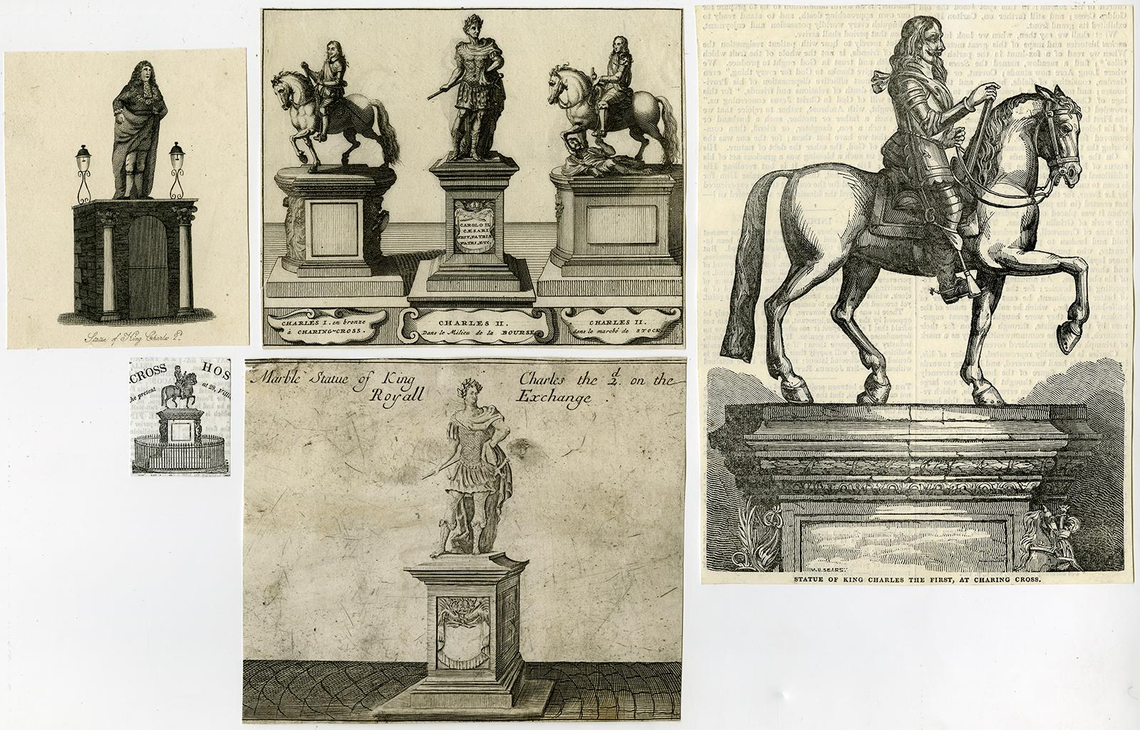 5 Antique Prints-STATUE-CHARLES I-II-LONDON-CHARING CROSS ...