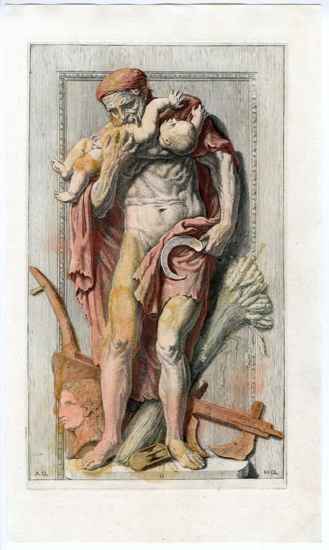 Antique Print-SATURN-ROMAN GOD-BABY-STATUE-PL.LXXVII ...