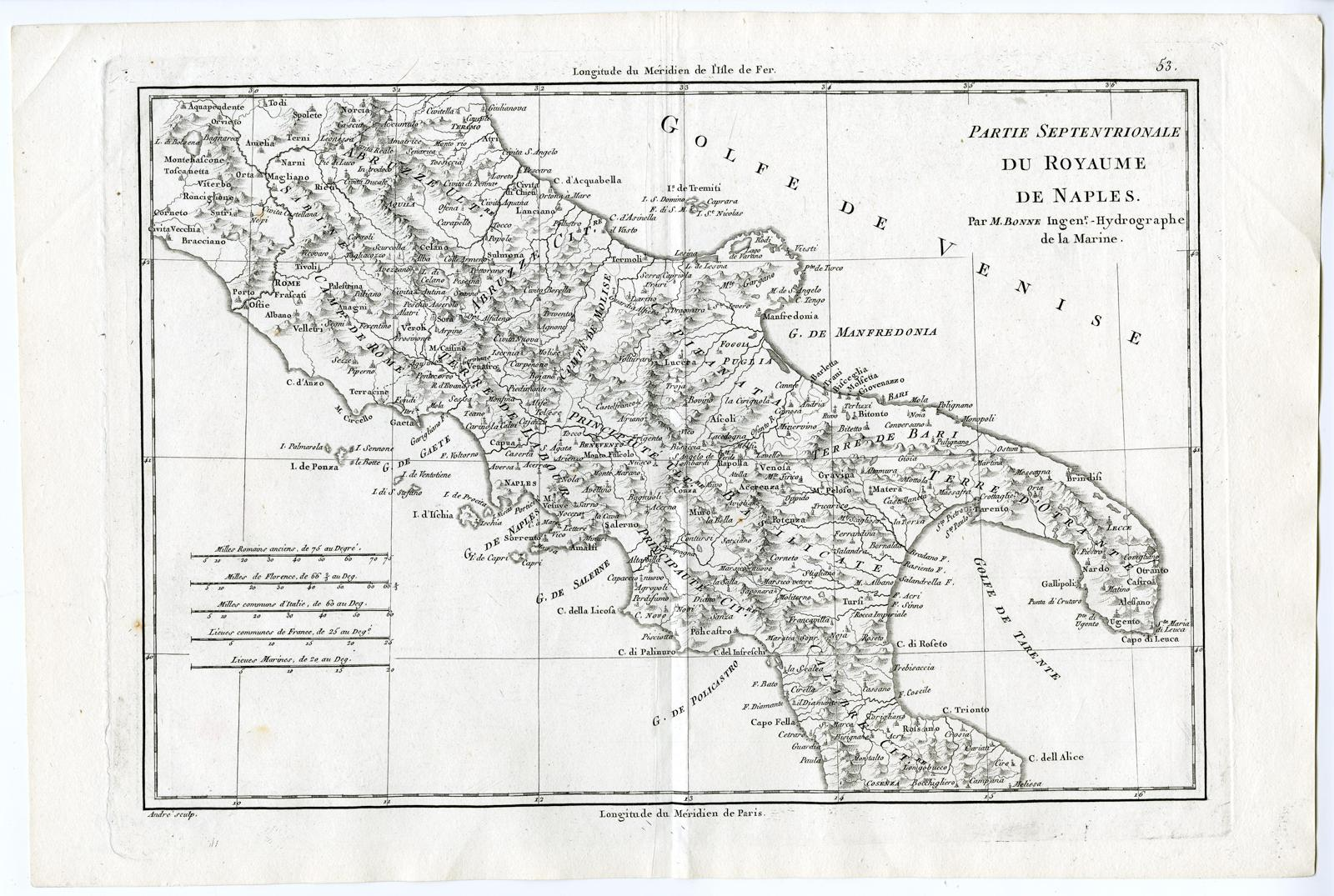 Antique Print-ITALY-KINGDOM OF NAPLES-Bonne-