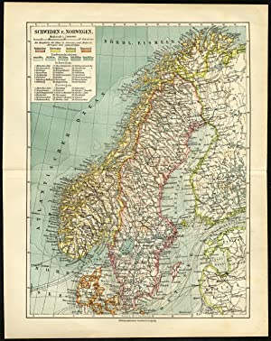 Antique Map-SCANDINAVIA-SWEDEN-NORWAY-Meyers-1903
