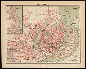 Antique Plan-COPENHAGEN-DENMARK-TOWN PLAN-KLAMPENBORG-Meyers-1893