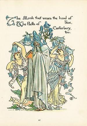 Antique Print--BELL FLOWER-CAMPANULA-FLORA'S FEAST-ART DECO-Crane-1889