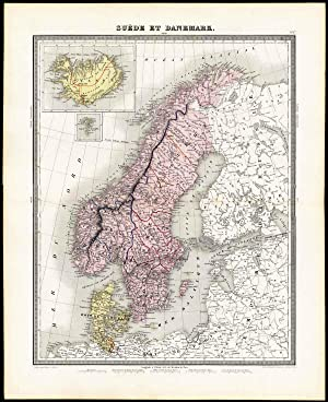 Antique Map-SWEDEN-DENMARK-NORWAY-ICELAND-SCANDINAVIA-Tardieu-Vuillemin-1863