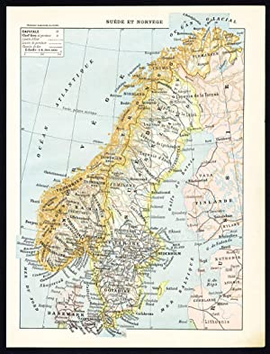 Antique Print / Map-SWEDEN-NORWAY-ARMS-FLAGS-ARMY-COSTUME-Larousse-1897