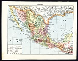 Antique Map-Print-MEXICO-COSTUME-ARTEFACT-CERAMICS-CULTURE-DEITY-Larousse-1897