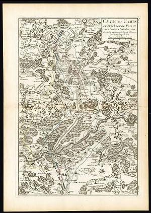 Antique Map-BATTLE-STREES-CHARLEROY-FELUY-THUIN-BELGIUM-FRANCE-Beaurain-1776