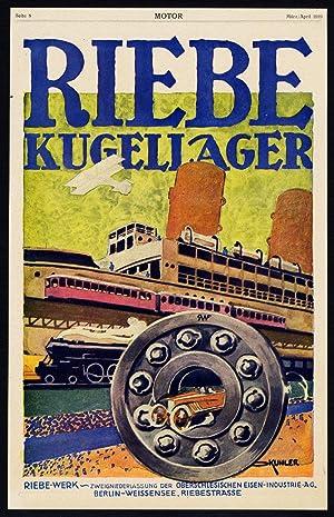Antique Print-ADVERTISING-RIEBE-SKF-BALL BEARINGS-BERLIN-TRAIN-CAR-Motor-1917