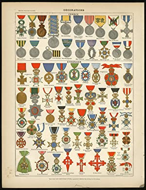 3 Antique Prints-DECORATIONS-MEDAL-MILTARY ORDER-KNIGHT-Larousse-1897