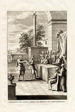 Antique Print-DIVORCE CUSTOM-HEBREW-ISRAEL-JEWS-Calmet-1725