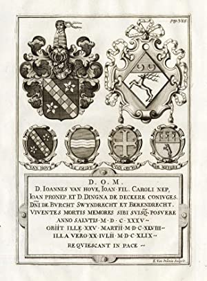 Antique Print-VAN HOVE-NOBLE FAMILIES-COAT OF ARMS-Le Roy-1678