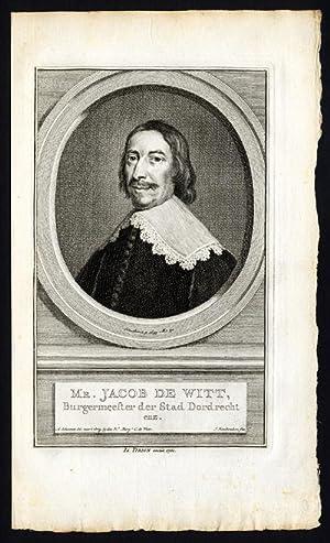 Antique Portrait Print-JACOB DE WITT-TIRION-Houbraken-1760