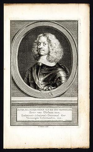 Antique Portrait Print-JACOB VAN WASSENAER OBDAM-ADMIRAL OPDAM-Houbraken-c.1750