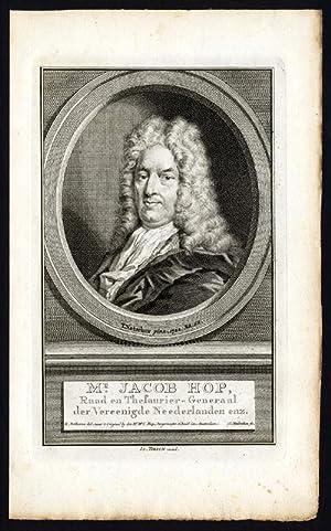 Antique Portrait Print-JACOB HOP-TIRION-Houbraken-c.1750