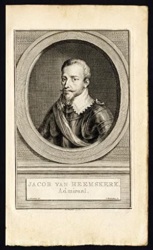 Antique Portrait Print-JACOB VAN HEEMSKERK-ADMIRAL-TIRION-Houbraken-c.1780