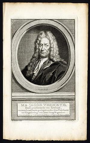 Antique Portrait Print-JACOB VERHEYE-TIRION-Houbraken-c.1780