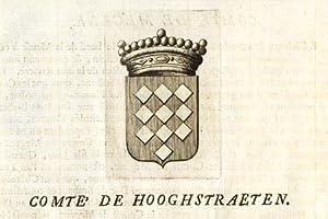 Antique Print-COAT OF ARMS-COUNT OF HOOGSTRATEN-BRABANT-Butkens-1726