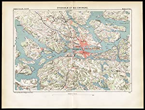 Antique Map-STOCKHOLM AND SURROUNDINGS-SWEDEN-SCANDINAVIA-Reclus-Erhard-1880