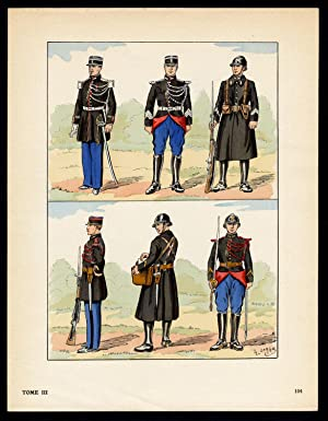 Antique Print-MILITARY-FRANCE-UNIFORM-FRENCH ARMY-pl. 104-Large-1965