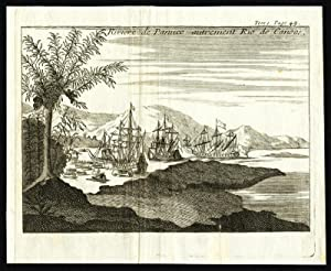 Antique Print-CANOAS RIVER-BRAZIL-SPANISH CONQUEST-SHIP-PANUCO-Cortez-1730