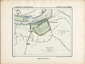 Antique Map-NETHERLANDS-TOWN PLAN-KATENDRECHT-ZUID HOLLAND-Kuyper-Kuijper-1865
