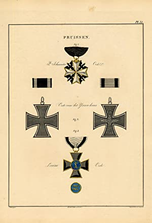 Rare Antique Print-MILITARY ORDER-PRUSSIA-IRON CROSS-ST JOHN-P 31-Rochemont-1843