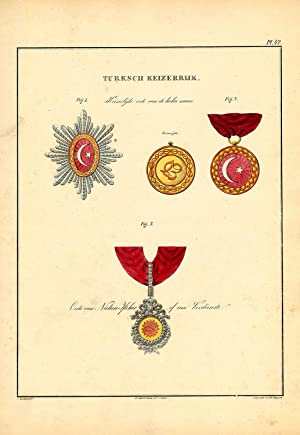 Rare Antique Print-MILITARY ORDERS-TURKEY-CRESCENT-GLORY-PLATE 42-Rochemont-1843