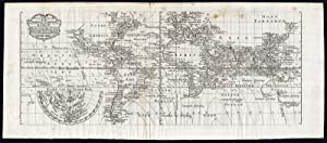 Antique Map-WORLD-POLE-CURRENTS-HALLEY-HARBOURS-Schouten-1740