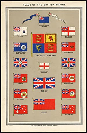 Antique Print-FLAGS-BRITISH EMPIRE-GREAT BRITAIN-COMMONWEALTH-Harmsworth-1905
