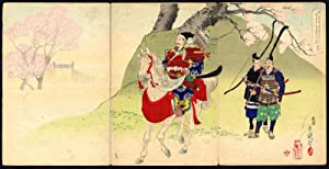 Antique Japanese Ukiyo-e Print-GENERAL-MOUNTED HORSE-WARRIOR-BOW-SPEAR-1881