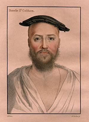 Antique Portrait Print-BROOKE LORD COBHAM-Cardon-Holbein-1828