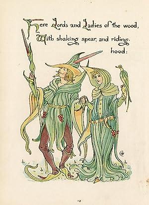 Antique Print-WOOD-RIDING HOOD-FLOWER-FLORA'S FEAST-ART DECO-Crane-1889