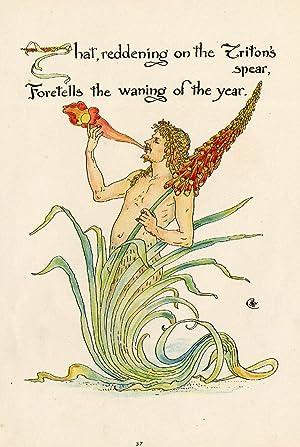 Antique Print-TRITON's SPEAR-FLOWER-FLORA'S FEAST-ART DECO-Crane-1889