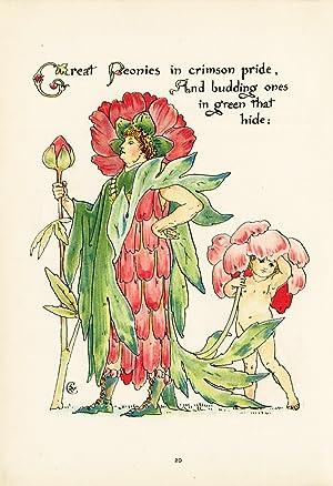 Antique Print-PEONIES-PAEONIA-FLOWER-FLORA'S FEAST-ART DECO-Crane-1889