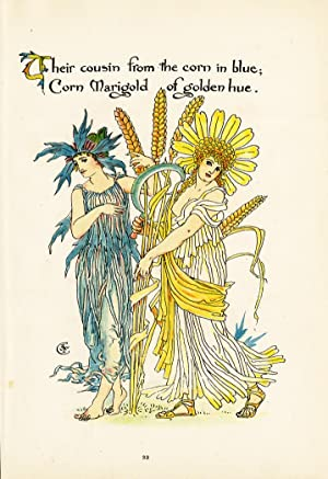Antique Print-MARIGOLD-CORNFLOWER-FLOWER-FLORA'S FEAST-ART DECO-Crane-1889