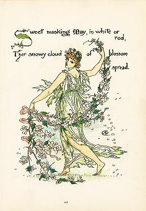 Antique Print-BLOSSSOM-MAY-FLOWER-FLORA'S FEAST-ART DECO-Crane-1889